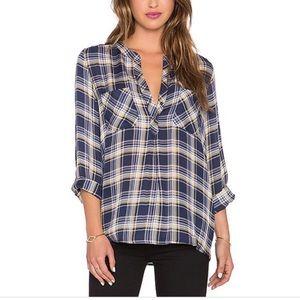 Joie Nelia silk plaid popover shirt XS